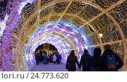 Купить «The tunnel of glowing lights. Decorating for Christmas», видеоролик № 24773620, снято 23 декабря 2016 г. (c) Игорь Усачев / Фотобанк Лори