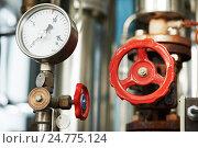 Купить «manometer pipes and valve in boiler room», фото № 24775124, снято 10 октября 2012 г. (c) Дмитрий Калиновский / Фотобанк Лори