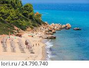 Aegean sea coast with beach (Greece). (2016 год). Стоковое фото, фотограф Юрий Брыкайло / Фотобанк Лори