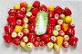 Перец, яблоки, груши и китайская капуста на сером холсте, фото № 24798624, снято 3 мая 2016 г. (c) Олег Шкуратов / Фотобанк Лори