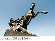 """Купить «Скульптура """"Укротитель коня"""".  Санкт-Петербург», эксклюзивное фото № 24801544, снято 4 июня 2010 г. (c) Александр Алексеев / Фотобанк Лори"""