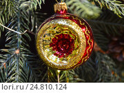 Купить «Новогодняя елочная игрушка на еловых веточках», эксклюзивное фото № 24810124, снято 27 ноября 2016 г. (c) lana1501 / Фотобанк Лори