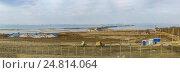 Купить «Панорама грандиозной стройки моста через Керченский пролив со стороны Таманского полуострова. Январь 2017 года», фото № 24814064, снято 4 января 2017 г. (c) Наталья Гармашева / Фотобанк Лори