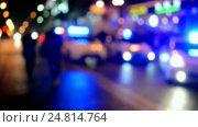 Купить «Полицейские машины на дороге с мигающими маячками», видеоролик № 24814764, снято 28 декабря 2016 г. (c) FMRU / Фотобанк Лори