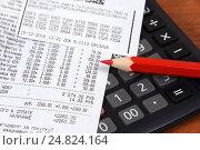 Купить «Кассовые чеки, красный карандаш и калькулятор», эксклюзивное фото № 24824164, снято 6 января 2017 г. (c) Юрий Морозов / Фотобанк Лори