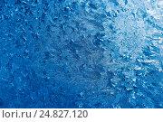 Купить «Узоры мороза на стекле (абстрактный фон)», фото № 24827120, снято 8 января 2017 г. (c) Екатерина Овсянникова / Фотобанк Лори