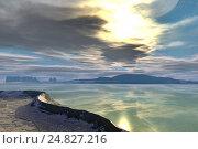 Alien planet. Sunrise. 3D  rendering. Стоковая иллюстрация, иллюстратор Parmenov Pavel / Фотобанк Лори