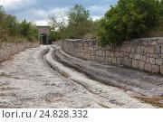 Купить «Центральная каменная дорога от ворот древнего города Чуфут-Кале в Крыму», фото № 24828332, снято 25 июля 2014 г. (c) Slasha / Фотобанк Лори