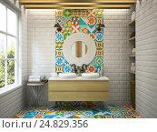 Купить «3D визуализация интерьера современной ванной», иллюстрация № 24829356 (c) Hemul / Фотобанк Лори