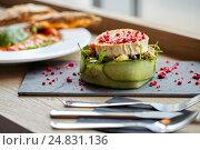 Купить «goat cheese salad with vegetables at restaurant», фото № 24831136, снято 22 сентября 2016 г. (c) Syda Productions / Фотобанк Лори