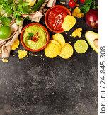 Купить «Green Homemade Guacamole with Tortilla Chips and Salsa», фото № 24845308, снято 6 декабря 2016 г. (c) Наталия Кленова / Фотобанк Лори