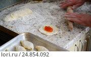 Купить «woman prepares pies with jam», видеоролик № 24854092, снято 6 января 2017 г. (c) Володина Ольга / Фотобанк Лори