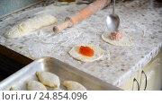 Купить «woman prepares pies with jam and meat», видеоролик № 24854096, снято 6 января 2017 г. (c) Володина Ольга / Фотобанк Лори