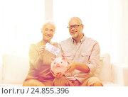 Купить «senior couple with money and piggy bank at home», фото № 24855396, снято 4 сентября 2014 г. (c) Syda Productions / Фотобанк Лори
