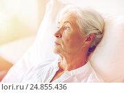 Купить «senior woman patient lying in bed at hospital ward», фото № 24855436, снято 11 июня 2015 г. (c) Syda Productions / Фотобанк Лори