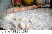 Купить «Grandmother prepares pies in home kitchen», видеоролик № 24861616, снято 6 января 2017 г. (c) Володина Ольга / Фотобанк Лори