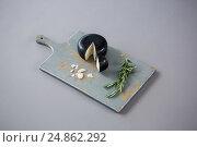 Купить «Gouda cheese with rosemary leaves on chopping board», фото № 24862292, снято 16 сентября 2016 г. (c) Wavebreak Media / Фотобанк Лори