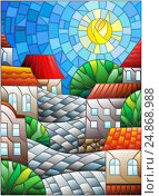 Купить «Illustration in stained glass style, urban landscape,roofs and trees against the day sky and sun», иллюстрация № 24868988 (c) Наталья Загорий / Фотобанк Лори