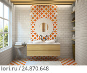 Купить «Interior modern bathroom 3D rendering», иллюстрация № 24870648 (c) Hemul / Фотобанк Лори