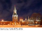 Вид на Спасскую башню с территории Кремля, Москва, Россия, фото № 24875416, снято 10 декабря 2016 г. (c) Наталья Волкова / Фотобанк Лори