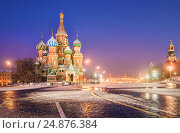 Blue winter morning on the Red Square and St. Basil's Cathedral (2016 год). Стоковое фото, фотограф Baturina Yuliya / Фотобанк Лори