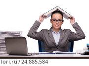 Купить «Young businesswoman in office isolated on white», фото № 24885584, снято 28 сентября 2016 г. (c) Elnur / Фотобанк Лори