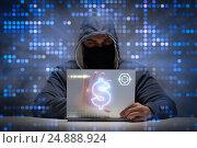 Купить «Hacker stealing dollars from bank», фото № 24888924, снято 6 января 2019 г. (c) Elnur / Фотобанк Лори