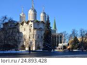 Купить «Патриарший дворец и церковь Двенадцати апостолов в Московском Кремле», эксклюзивное фото № 24893428, снято 11 января 2017 г. (c) lana1501 / Фотобанк Лори