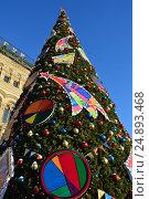 Новогодняя елка на Красной площади около здания ГУМа в Москве, эксклюзивное фото № 24893468, снято 11 января 2017 г. (c) lana1501 / Фотобанк Лори