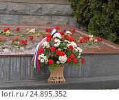 Купить «Корзина с цветами у Мемориала 1200 гвардейцам. Калининград», эксклюзивное фото № 24895352, снято 9 апреля 2008 г. (c) Ирина Борсученко / Фотобанк Лори