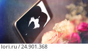 Купить «Composite image of high angle view of smart phone white flower», фото № 24901368, снято 21 января 2020 г. (c) Wavebreak Media / Фотобанк Лори