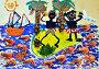 Детский рисунок красками  с элементами продуктов питания, иллюстрация № 24902544 (c) Дрогавцева Оксана / Фотобанк Лори