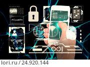 Купить «Composite image of hand showing smartphone 3d», фото № 24920144, снято 21 мая 2018 г. (c) Wavebreak Media / Фотобанк Лори