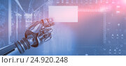 Купить «Composite image of computer graphic image of robotic arm holding placard 3d», фото № 24920248, снято 20 марта 2019 г. (c) Wavebreak Media / Фотобанк Лори