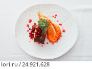 Купить «Fried salmon steak with pumpkin puree, red berry sauce and herbs», фото № 24921628, снято 3 ноября 2016 г. (c) Федор Кондратенко / Фотобанк Лори