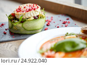 Купить «goat cheese salad with vegetables at restaurant», фото № 24922040, снято 22 сентября 2016 г. (c) Syda Productions / Фотобанк Лори