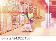 Купить «man carrying loader with goods at warehouse», фото № 24922136, снято 9 декабря 2015 г. (c) Syda Productions / Фотобанк Лори