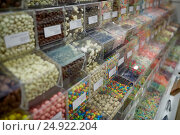 Купить «different sweets in boxes at candy shop», фото № 24922204, снято 2 ноября 2016 г. (c) Syda Productions / Фотобанк Лори