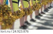 Купить «Cheerleaders girls dressed in yellow costumes», видеоролик № 24923876, снято 2 декабря 2016 г. (c) worker / Фотобанк Лори