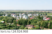 View on the Intercession Monastery from the bell tower, Russia, Suzdal (2014 год). Стоковое фото, фотограф Денис Фоломеев / Фотобанк Лори
