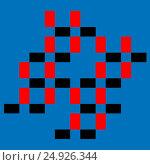 Graphic design of colored ( red and black) squares on cyan background. Стоковая иллюстрация, иллюстратор vladimir vershvovski (Владимир Вершвовский) / Фотобанк Лори