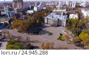 Купить «Aerial view on the Russian south city - Krasnodar. Panorama of the city. 4K», видеоролик № 24945288, снято 9 декабря 2016 г. (c) ActionStore / Фотобанк Лори