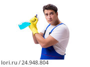 Купить «Man with cleaning agents isolated on white background», фото № 24948804, снято 31 октября 2016 г. (c) Elnur / Фотобанк Лори