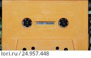 Купить «Vintage audio cassette tape with a blank label», видеоролик № 24957448, снято 24 января 2017 г. (c) Курганов Александр / Фотобанк Лори