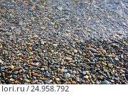 Купить «Морская галька. Крым, Яшмовый пляж на мысе Фиолент», фото № 24958792, снято 13 сентября 2016 г. (c) Ирина Носова / Фотобанк Лори