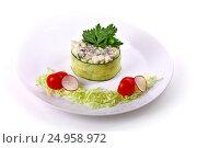 Olivier salad with cabbage, cherry tomatoes and radish. Стоковое фото, фотограф Art Konovalov / Фотобанк Лори