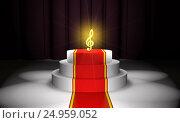 Купить «Golden treble clef on the podium with a red carpet (3d illustration)», иллюстрация № 24959052 (c) Федин Константин / Фотобанк Лори