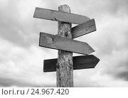 Arrow signboards on grey sky background. Стоковое фото, фотограф Екатерина Голубкова / Фотобанк Лори