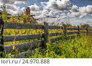 Old Rustic Wooden Fence. Стоковое фото, фотограф Светлана Сухорукова / Фотобанк Лори