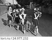 Купить «Школьницы идут в школу 1 сентября. Конец 1970-х», фото № 24977232, снято 22 ноября 2019 г. (c) Борис Кавашкин / Фотобанк Лори